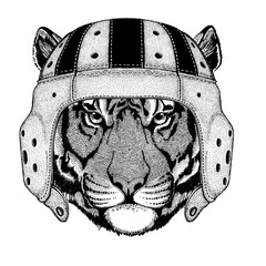 Cool animal wearing rugby helmet Wild tiger Hand drawn image for tattoo, emblem, badge, logo, patch, t-shirt