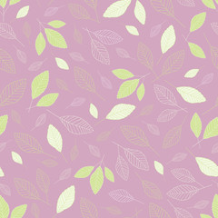 Seamless vector repeat in green and white leaf pattern with a lavender background.