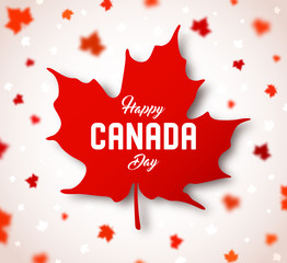 Celebrate the national day of Canada. Red canadian maple leaf with lettering Happy Canada day on white background. Greeting card, poster for celebration party, independence day, travel banner