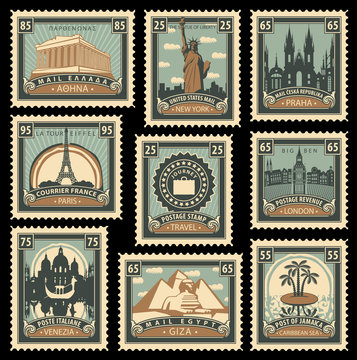 Vector set of postage stamps on the travel theme from different countries with historical architectural sights landmarks