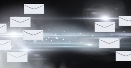 Envelope letters messages floating in motion