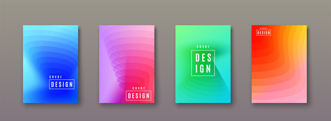 Abstract gradient background with geometric color shapes. Minimal cool covers design