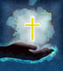Palm holding bright shining cross cloud of light