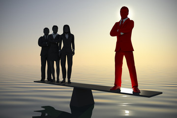 Balance of a valuable team leader with a team at sea at dawn. A team of three executives at sea stands on a balance at dawn where the counterweight is the male team leader.