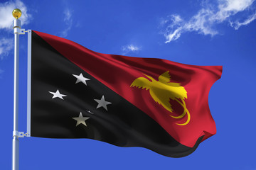 The silk waving flag of Papua New Guinea with a flagpole on a blue sky background with clouds .3D illustration.
