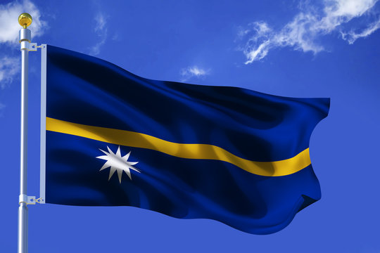 The silk waving flag of Nauru with a flagpole on a blue sky background with clouds .3D illustration.
