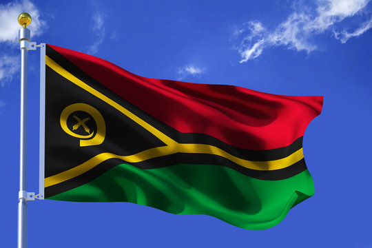 The silk waving flag of Vanuatu with a flagpole on a blue sky background with clouds .3D illustration.