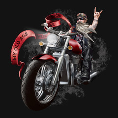 "Illustration with an elderly biker on a large powerful motorcycle. The inscription ""my old age will be such."" Smoke from exhaust pipes. Beard, sunglasses and cigar, leather clothes. Rock and metal. Is"