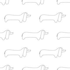 Seamless pattern of cartoon outline dachshund. Vector dog.