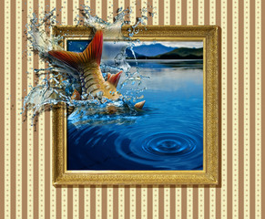 the illusion of fishing from the picture. Room with striped Wallpaper. On the wall hangs picture, drawn fish splashed out real water. Fishing, pond, circles on the water, water splashes, framing frame