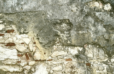 Fotobehang Oude vuile getextureerde muur stone wall covered with clay plaster. Vintage architectural panoramic background