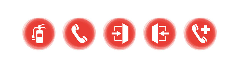 Symbol-Set - Rote Buttons - Notfall