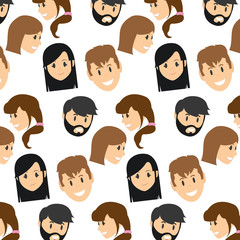 women and men head with hairstyle background