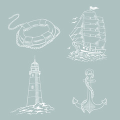 Anchor, boat,  lifebuoy, lighthouse, ship, sailboat sketch set. Hand drawn vector illustration.