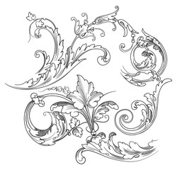 Vector vintage baroque engraving floral scroll filigree design  acanthus pattern element