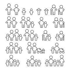 Family thin line icons set. Vector illustration.