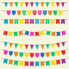 Festive flag set. Bunting flags, garland and pennants collection. Holiday, birthday, festival decoration. Vector illustration.