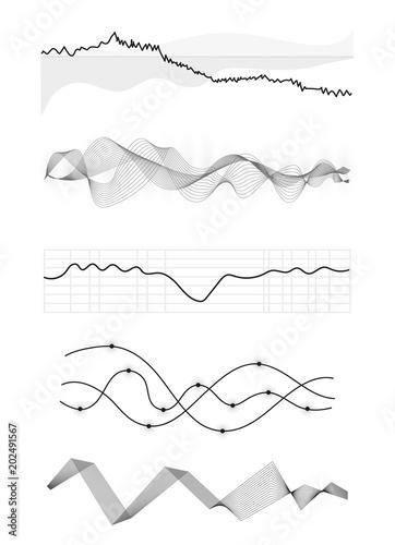 Vector Music Sound Waves Set Audio Digital Equalizer Technology