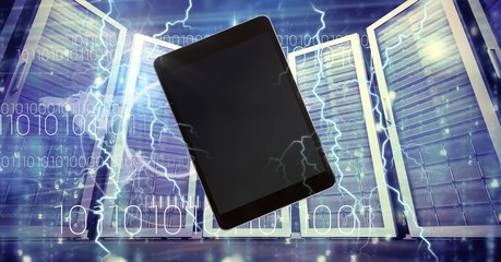 Lightning strikes and tablet with servers
