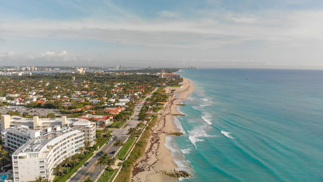 Palm Beach buildings along the oceanfront, Florida aerial view