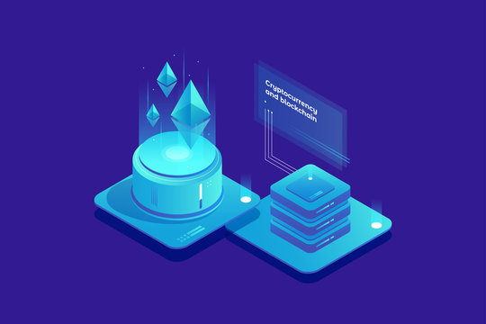 Cryptocurrency and Blockchain concept. Farm for mining Ethereum. Digital money market, finance and trading. Perfect for web design, banner and presentation. Isometric vector illustration.