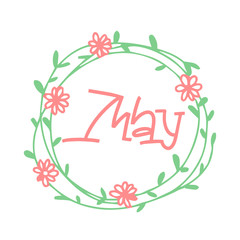 May - vintage style calligraphy with text, lettering sticker, hand lettering