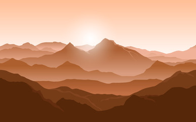 Fototapete - Vector landscape with orange silhouettes of mountains and evening sunlight