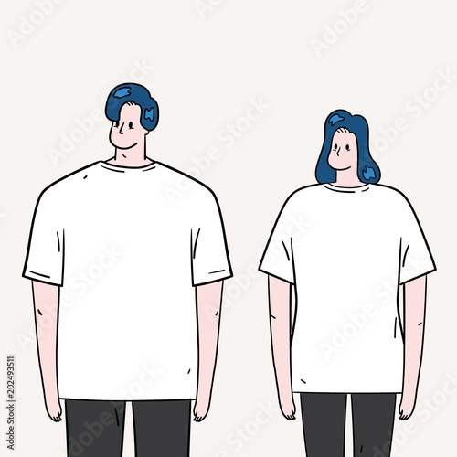 hand drawn vector illustration of young man and woman wearing white