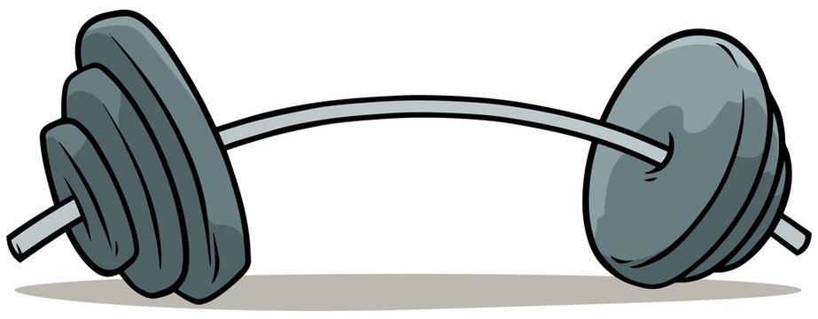 Cartoon metal weights barbell vector icon
