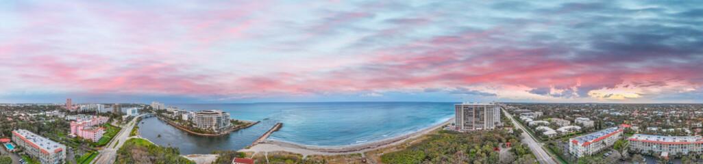 Boca Raton aerial sunset panoramic view, Florida coastline