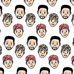 doodle men head with facial expression background