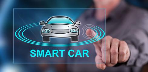 Man touching a smart car concept