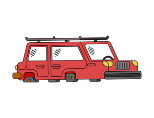 Car on flat tires. Auto does not go. Vector illustration