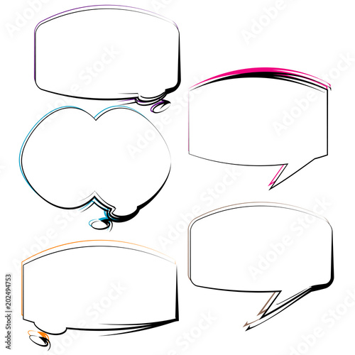 Set Of Bubble Speech Quote Box Talk Frame Template Illustration With Colorful Outline