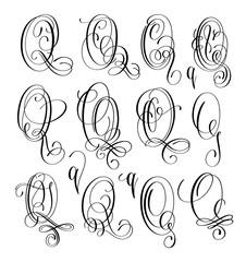 calligraphy lettering script font Q set, hand written