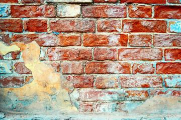 Old brick wall Weather-beaten background.