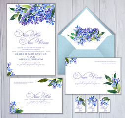 Set of templates for greetings, invitations to wedding. Blue lilac and twigs with leaves. Art by markers: invitation card, letterhead, numbering for tables and other. Watercolor imitation.
