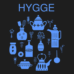 """Vector hand drawn poster in the style of """"Hygge"""". Kitchenware in the Scandinavian folk patterns. For the menu of tea cafe, packing."""