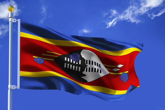 The silk waving flag of Swaziland with a flagpole on a blue sky background with clouds .3D illustration.