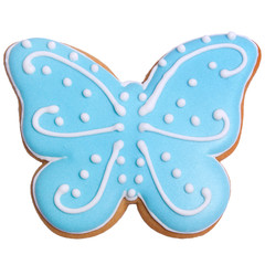 Blue gingerbread as butterfly with colored glaze on isolated closeup