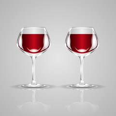 Two glasses of wine. Realistic vector illustration