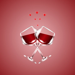 Two glasses of wine, isolated on red background. Vector illustration