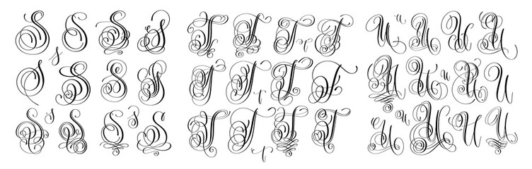 calligraphy letters set S, T and U, script font