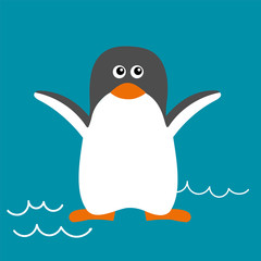Vector illustration of penguin in flat style