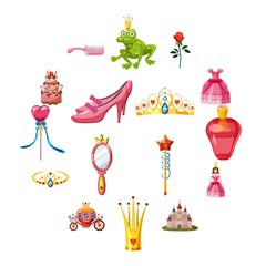 Princess fairytale doll icons set. Cartoon illustration of 16 princess fairytale doll vector icons for web