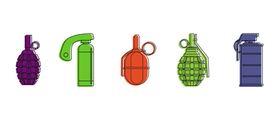 Grenade icon set. Color outline set of grenade vector icons for web design isolated on white background