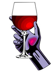 Hand holding the glass with red wine isolated on white