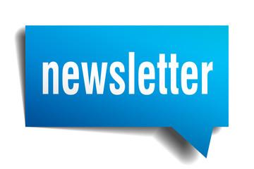 newsletter blue 3d speech bubble