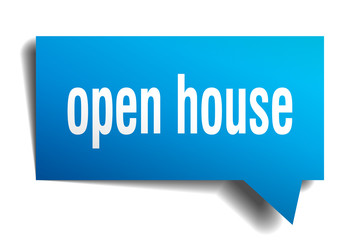 open house blue 3d speech bubble