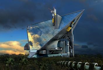 3D Futuristic technologist architecture